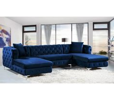 Turn family movie nights into a comfortable and modern affair with the Meridian Furniture Inc Moda Velvet Sectional . With two double chaise. Blue Couch Living Room, Blue Living Room Decor, Sofa Design, Living Room Diy, Living Room Designs, Meridian Furniture, Couches Living Room, Living Room Sectional, Living Room Sofa Design
