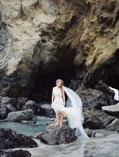 Seaside bride in a custom gown by Cheryl Taylor. Image: Erich McVey #wedding #beach