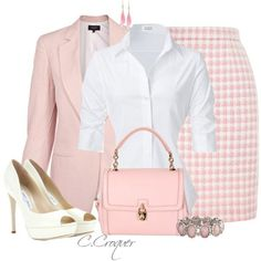 Fashion Style Combination - Baby Pink jacket, pocketbook, and hounds-tooth style pencil skirt. A white blouse, off-white shoes, and accessories.
