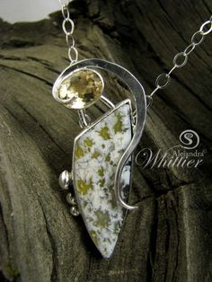 Plume Agate and Citrine Pendant by StoneDisegno on Etsy