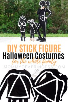 Are you looking for a fun and easy family costume idea for Halloween? Here's how easy it is to make this DIY stick figure halloween costume. Kids Costumes Boys, Diy Halloween Costumes For Kids, Boy Costumes, Family Costumes, Easy Halloween, Group Halloween, Women Halloween, Halloween Party, Stick Figure Halloween Costume