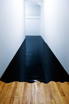 "Highly imaginative use of black paint on wood floor. ""Redrum""."