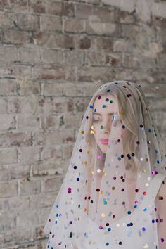 Rainbow polka dot veil - Collection from Rock n Roll Bride x Crown and Glory · Rock n Roll Bride Bridal veils - long, short, vintage and modern for the creative wedding wedding Wedding Veils, Wedding Dresses, Bridal Veils, Bridal Hair, Wedding Garters, Wedding Cape Veil, Polka Dot Veil, Polka Dot Wedding Dress, Rainbow Wedding Dress