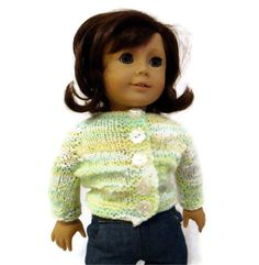 Sweater Doll Green Yellow White American Girl by PreciousBowtique, $10.00