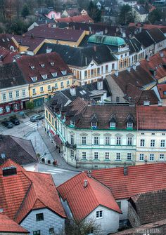 The rooftops of Melk, Austria. Melk is in the federal state of Lower Austria, next to the Wachau valley along the Danube. It is best known as the site of a massive baroque Benedictine monastery named Melk Abbey. (V)