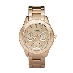 Fossil Ladies Rose Gold Ip Multi-Eye Analogue Stella Watch - Es2859