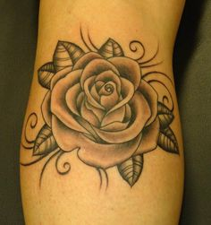 Black And Grey Rose Tattoos | Rose Flaming Heart Tattoos And Praying Hands Cross Tattoo On Sleeve ...