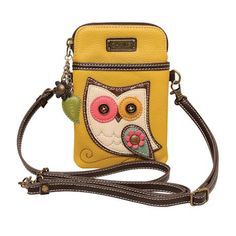 Chala Crossbody Cell Phone Purse - Women PU Leather Multicolor Handbag with Adjustable Strap - Owl - Mustard Yellow - Parent Crossbody Phone Purse, Cell Phone Purse, Crossbody Bags, Waist Pouch, Cute Bags, Handbags Online, Cross Body Handbags, Pu Leather, Leather Bags