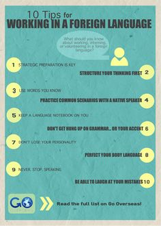 10 tips for working in a foreign language infographic internships studyabroad immersion 429741989442709978 Spanish Classroom, Teaching Spanish, Teaching French, Languages Online, Foreign Languages, Learn Brazilian Portuguese, Portuguese Language, French Language, Spanish Language