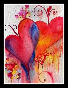 Valentine's  Day Warm Hearts   Original Watercolor Painting  by yurinovafineart,