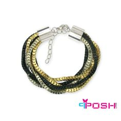 POSH Hadas - Bracelet - Intertwined 6 strands elegant bracelet - Silver, gun metal, black and gold colour - Dimension: 18cm + 5cm extending   POSH by FERI - Passion for Fashion - Luxury fashion jewelry for the designer in you.