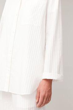 STRIPED COTTON PYJAMA SHIRT - white - Sleepwear - COS Pajama Shirt, Cotton Pyjamas, Pajamas Women, Women Wear, Pure Products, How To Wear, Shirts, Cos, Fashion