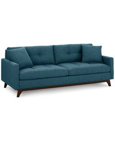 This couch and all the colors it comes in! Nari Tufted Back Sofa with 2 Toss Pillows- Custom Colors, Only at Macy's Sofa Furniture, Online Furniture, Furniture Ideas, Furniture Stores, Pallet Furniture, House Furniture, Furniture Design, Living Room Sofa, Living Room Furniture