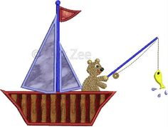 Bear Going Fishing Applique Machine Embroidery Design by 2artzee, $1.99