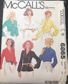 Items similar to Blouse Sewing Pattern, McCall's 6865 Tie Neck Blouse, V Neck, Collared Blouse UNCUT on Etsy Vintage Dress Patterns, Blouse Vintage, Blouse Patterns, Plus Size Sewing Patterns, Mccalls Sewing Patterns, Knitting Patterns, Make Your Own Clothes, Diy Clothes, Sewing Blouses
