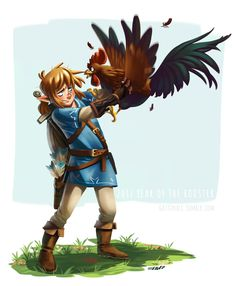 """gattinali: """" Still got no luck with chickens Link, huh? I'm still experimenting with my style… """""""