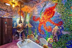 We all bathe in a yellow submarine. yellow submarine. yellow submarine! Mosaic Bathroom, Mosaic Wall Art, Mosaic Tiles, Octopus Bathroom, Gaudi Mosaic, Garden Bathroom, Bathroom Art, Wall Tiles, Yellow Submarine