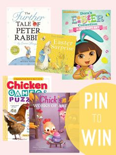 This week's Freebie Friday is an Easter Prize pack including 4 books and 2 Dora Easter DVDS your kids will love! To enter, REPIN and COMMENT on this pin! Check back HERE at 4 pm to see if you've won! Good cluck!  Ha ha!  This would be great :)