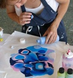 "Michele Theberge: ""Pour, Puddle, Drip Lift, Peel, Cut Crazy Cool Stuff You Can Only Do with Acrylic Paints"""