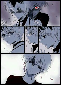 Sasaki and Kaneki, Sasaki was afraid of Kaneki. But when he turn around, he saw that Kaneki wasn't a monster