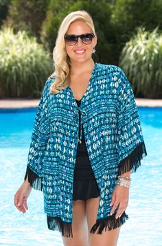 Cute plus size cover up - Fringe Kimono   Always for Me