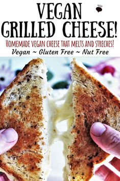 A vegan grilled cheese sandwich made with homemade vegan cheese that melts! Gluten free, soy free, and nut free, yet still creamy and delicious! Best vegan sandwich ever! Vegan Sandwich Recipes, Vegan Cheese Recipes, Grilled Cheese Recipes, Delicious Vegan Recipes, Vegan Foods, Vegan Dishes, Dairy Free Recipes, Gluten Free, Chicken Recipes