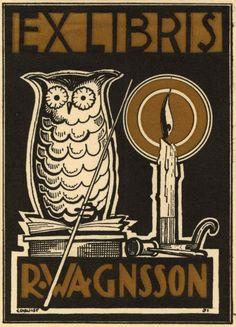 Ex libris Ruben Wagnsson by O. Edquist - Sweden, 1931                                                                                                                                                      More