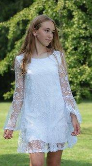 Blonder, Confirmation Dresses, White Dress, Tunic Tops, Fashion, Weddings, Dress, Moda, Fashion Styles