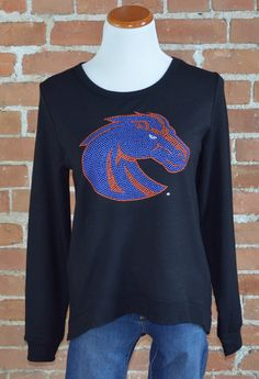 "Team 44 Apparel - BOISE STATE UNIVERSITY, CURVED HEM SWEATSHIRT with 9"" Nailhead Bronco Logo"