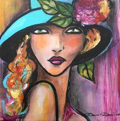 """""""So much..."""" (Peinture),  30x30 cm par Dam Domido Portrait expressionniste  Art déco"""