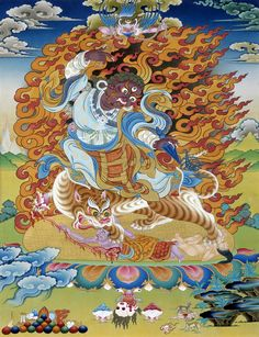 Guru Dorje Drolo, a wisdom form, an expression of the rainbow body emanated in the final days before Padmasambhava's departure from Tibet. Dorje Drolo made many prophecies and multiplied terma through his meditative powers, securing the commitment of local spirits to extend their protection across generations. Dorje Drolo is the Buddha oriented toward the welfare of practitioners in the future - our present degenerate age.