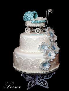Christening cake with stroller..
