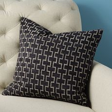 Hand-Blocked Silk Stone Trellis Pillow Cover - from West Elm