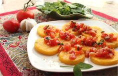 Grilled Italian Polenta with Fresh Tomatoes from The Six O'Clock Scramble via Kitchen Explorers
