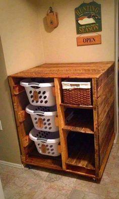 Pallet laundry storage idea