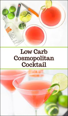 This keto cosmopolitan drink recipe is a simple sugar free cocktail that does not use triple sec. It's a low calorie drink that is easy to make and tastes delicious! Each one has only 139 calories and 2g net carbs so it's a great cocktail on a low carb diet. Low Carb Mixed Drinks, Low Carb Drinks, Diet Drinks, Diet Snacks, Party Drinks, Alcoholic Drinks, Quick Keto Breakfast, Keto Breakfast Smoothie, Cosmo Drink