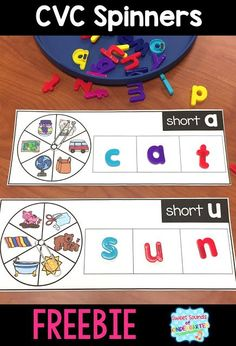 Looking for a fun way to teach CVC words? Check out this spinners freebie! It's a great game to teach phonics to young kindergarten students! Kindergarten Centers, Kindergarten Reading, Kindergarten Classroom, Teaching Reading, Classroom Decor, Classroom Games, Teaching Phonics, Phonics Activities, Work Activities