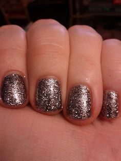 Dark Night Shellac, short nail art, sparkly nail art, short natural nail manicure, gel polish