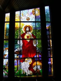 Window by Stacey Asp Liturgical Art & Design and Classic Glass Studio for Sacred Heart Catholic Church in Mt Pleasant, MI