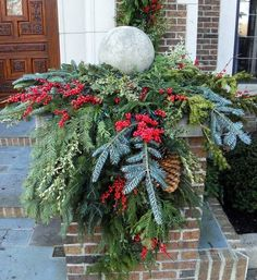 Use Evergreen Cuts, Pine Cones and Faux Berries | Click Pic for 21 DIY Christmas Outdoor Decorations Ideas | Front Porch Christmas Decorations