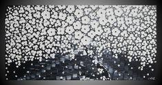 SALE 120 x 60 Abstrakte Acrylbilder auf Leinwand Art Deco Großes Bild Baum Blüten Landschaft 3D Strukturiert Schwarz Weiß Bilder by ilonka