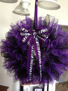 Purple and Black Wreath with Zebra