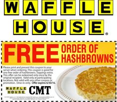 Pinned May 10th: Free hashbrowns at #Waffle House #coupon via The #Coupons App