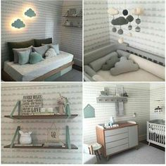 Nursery inspiration in mint, a cool pastel hue great for boys and girls with Half Moon wallpaper and Shelving available in store project and image via Baby Bedroom, Baby Boy Rooms, Little Girl Rooms, Baby Room Decor, Baby Boy Nurseries, Nursery Room, Kids Bedroom, Baby Bassinet, Nursery Inspiration