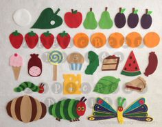 Button snake idea? Felt Board Story Set The Very Hungry by AppleBearDesign on Etsy, $47.87