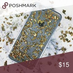 iPhone case | GOLD foil flakes 6/6s & 6+ NEW Gold Glitter Flakes Leaf Clear Rubber Soft Silicone Case  Glam Translucent finish and gold flakes leaf highlights. The polycarbonate shell and TPU bumper offer defense against bumps and shocks.  For iphone 6/6s & 6 Plus Accessories Phone Cases