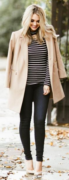 #winter #fashion Camel Coat + Striped Tee + Black Skinny Jeans