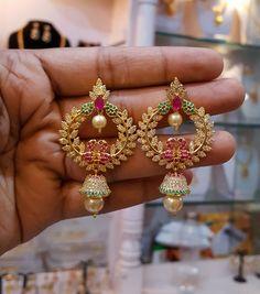 Price 610/- Inr  28 June 2017 Gold Jhumka Earrings, Indian Jewelry Earrings, Gold Earrings Designs, Indian Wedding Jewelry, Necklace Designs, Pendant Jewelry, Bridal Jewelry, Gold Jewellery, India Jewelry