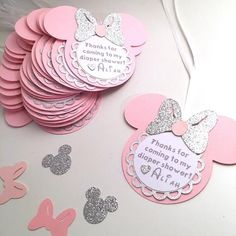 Minnie Thank You Tags / Silver and Pink / Pink and Gold / Minnie Mouse / Favor Tags / Favor Cards Minnie Mouse Favors, Minnie Mouse Baby Shower, Baby Mouse, Mickey Minnie Mouse, Mickey Baby Showers, Mini Mouse, Mickey Mouse Birthday, Baby Birthday, Birthday Parties