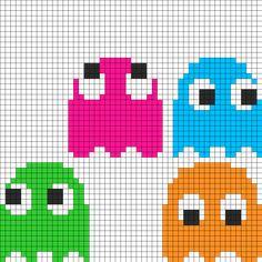 Kandi Patterns for Kandi Cuffs - Characters Pony Bead Patterns Easy Perler Bead Patterns, Fuse Bead Patterns, Perler Bead Templates, Kandi Patterns, Beading Patterns, Pac Man, Cross Stitching, Cross Stitch Embroidery, Cross Stitch Patterns